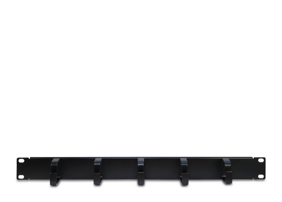 Cable guide strip, five times ring, black 1U